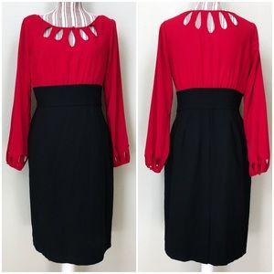 WHBM Teardrop Long Sleeve Dress Black & Red 6